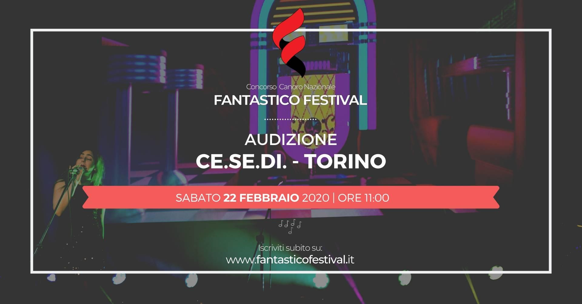 Audizione Fantastico Festival 2020 Torino concorso canoro